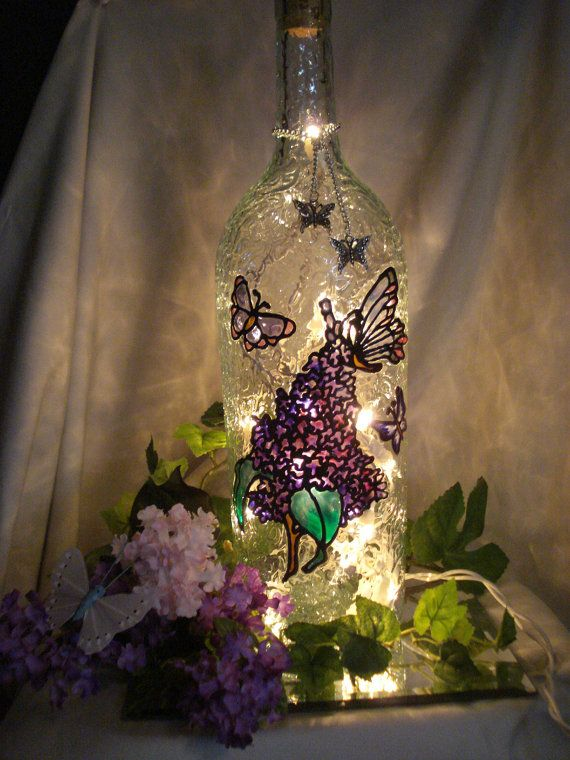Lilac Flowers Butterflies Decorative Recycled Wine Bottle Lamp