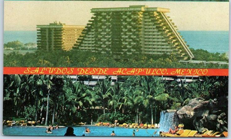 Acapulco, Mexico Postcard ACAPULCO PRINCESS HOTEL Bird's-Eye & Pool Views c1960s