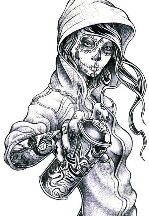Feminine Sugar Skull Tattoos | day of the dead girl | Tumblr