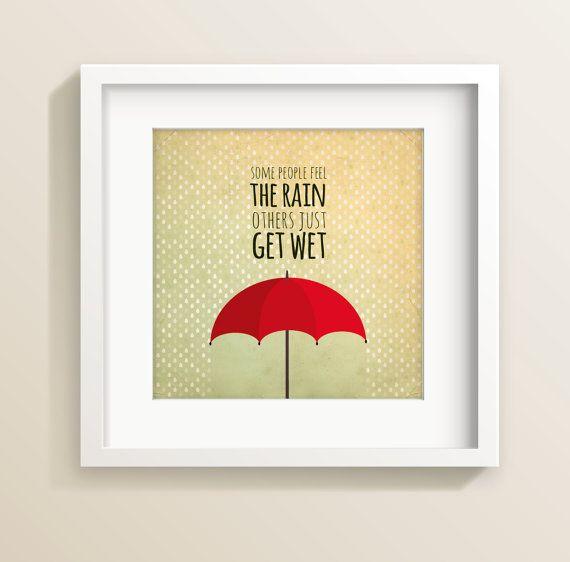 Umbrella art print, wall print, teen art, tween print, teen bedroom, rain print, inspirational quote, red umbrella quotation, umbrella print