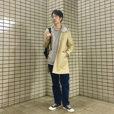 Y's Wardrobe: 【無印良品 unused colina】パーカーにステンカラーコートをon!