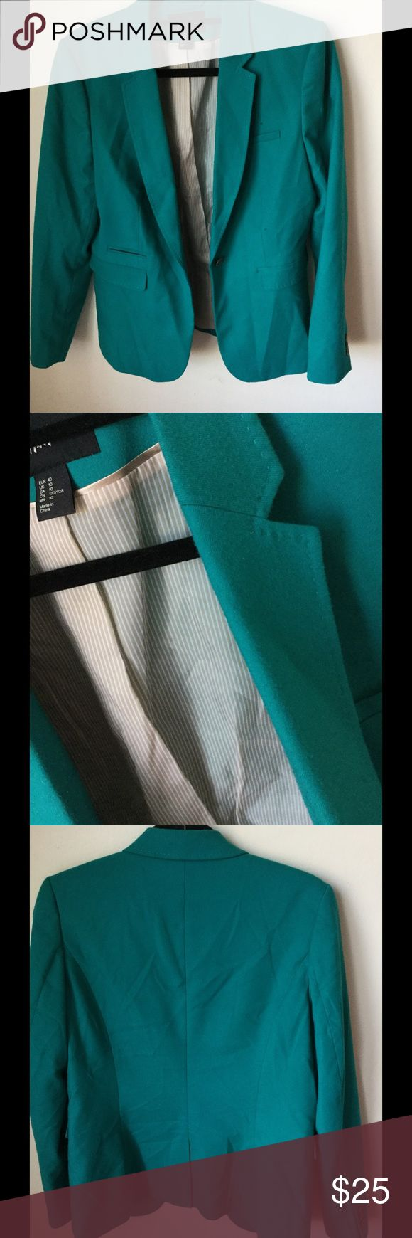 H&M turquoise blazer. H&M turquoise blazer. Size 10. 65% polyester. 33% viscose. 2%elastane. Inner lining- 100% polyester. H&M Jackets & Coats Blazers