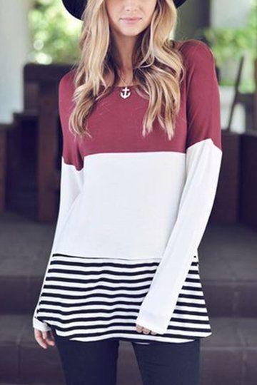 Burgundy Colorblock & Striped Round Neck Top