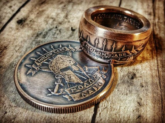 Hey, I found this really awesome Etsy listing at https://www.etsy.com/listing/249348143/1oz-molon-labe-solid-copper-coin-ring