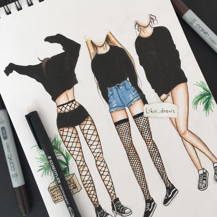 #grungeoutfits #zeichnungen #tuschekunst #buntstifte #menschen