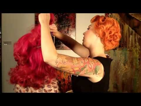 ▶ Pin Up Girl Hair Roll Tutorial Katy Perry / Bettie Page Bangs Fringe 50s Wide Awake - YouTube