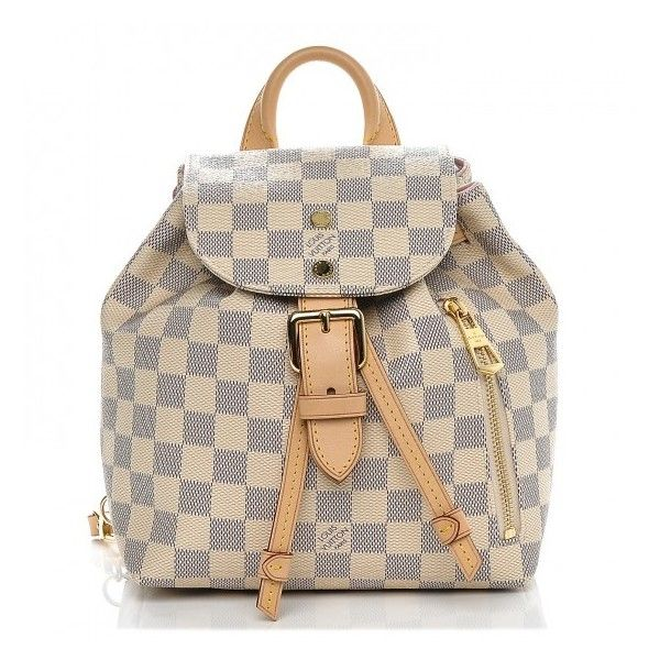 LOUIS VUITTON Damier Azur Sperone BB Backpack ❤ liked on Polyvore featuring bags, backpacks, louis vuitton backpack, flap bag, louis vuitton knapsack, cinch bag and checkered backpack