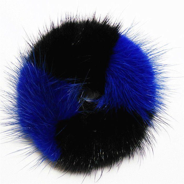 100%Handmade Real Soft Black & Blue MINK Fur Hair Holder Ponytail Scrunchie DP05