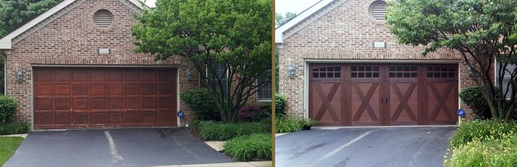 Stunning transformation from 1980's tired redwood door to Clopay's Canyon Ridge Utlragrain Collection