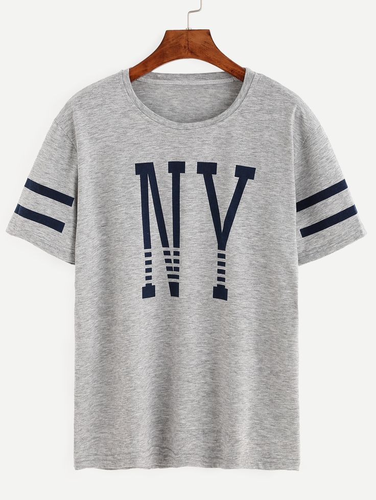 Shop Grey Varsity Striped Letter Print T-shirt online. SheIn offers Grey Varsity Striped Letter Print T-shirt & more to fit your fashionable needs.