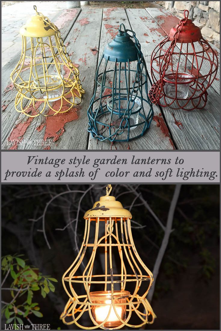 As the weather invites and friends anticipate gathering for an evening of conversation and laughter, these vintage style garden lanterns will provide that splash of color and soft lighting to illuminate the occasion. You may plan to display them for that special evening, but we think you'll love their character and never want to take them down.