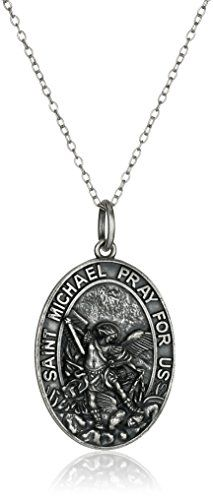 Sterling Silver Oxidized Oval St Michael Medal Pendant Necklace 20 -- Continue to the product at the image link.