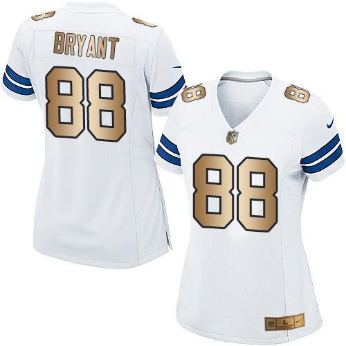 ... Nike Cowboys 88 Dez Bryant White Womens Stitched NFL Elite Gold Jersey  ... a1f82b200