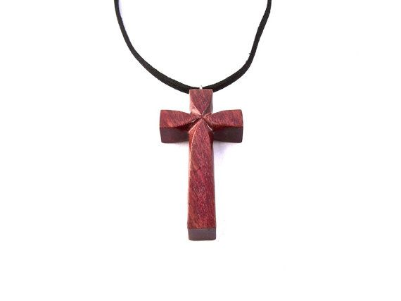 Wooden Cross Necklace Wooden Cross Christian by ...