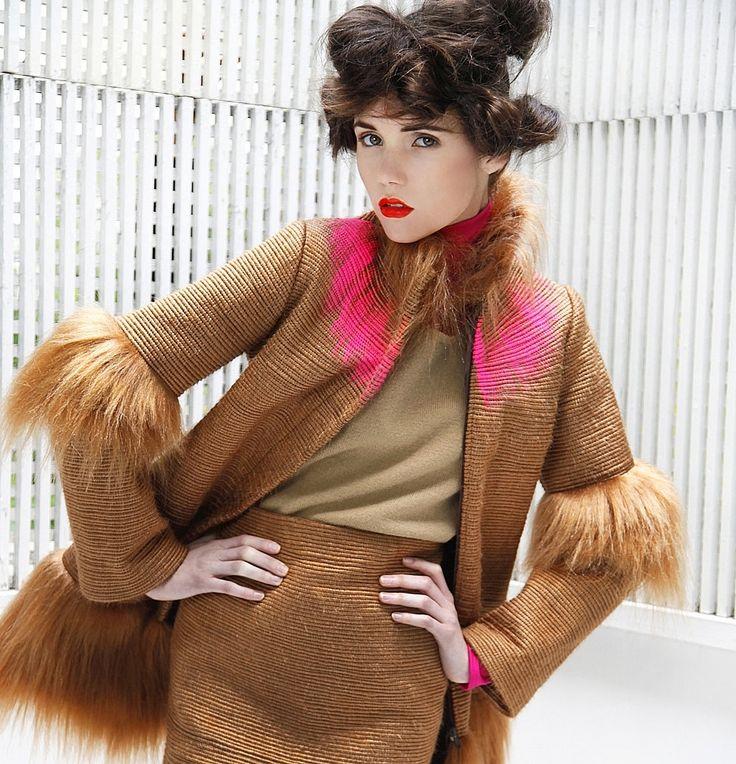 20% sale COUTURE fur COAT camel pink bespoke by NATIPUREIDEA