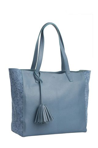 Scandi Tote - Flower Party - blue Available in two neutral shades and embellished with a metallic bronze  stripe and trim details. This tote takes a simple silhouette and makes everyday sophistication effortless.