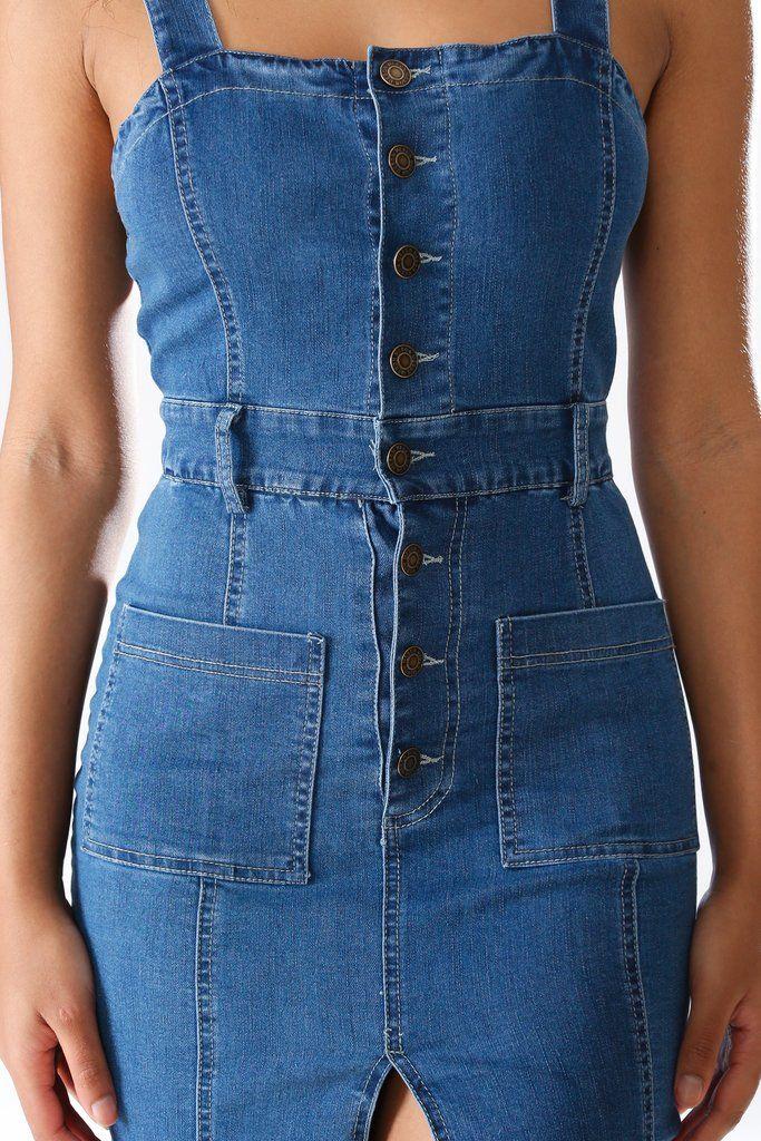 9bd060c699 Blue Split Buttons Up Bodycon Denim Midi Dress – KNOWSTYLE