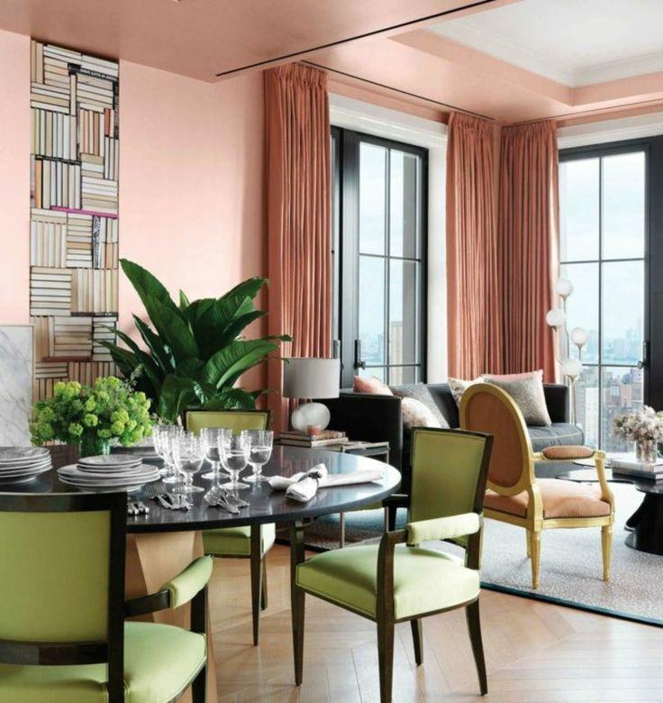 essbereich und wohnzimmer wandfarbe altrosa sthle in minzgrn herrlicher look