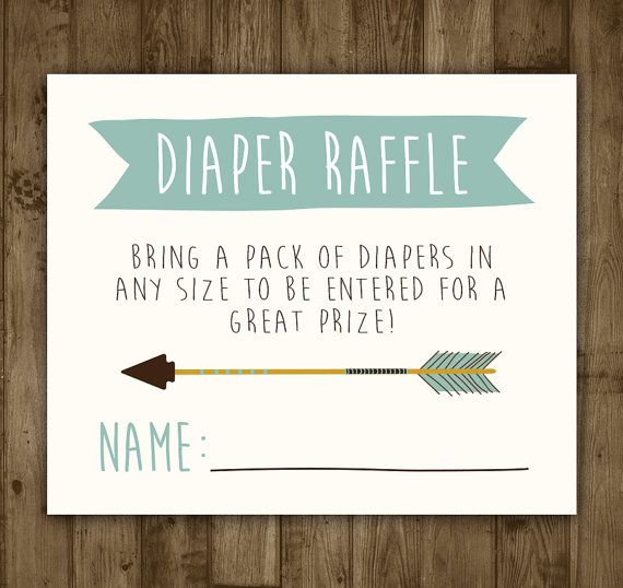 Diaper Raffle Insert. Printable. Arrow. by AmandaMillsShop on Etsy