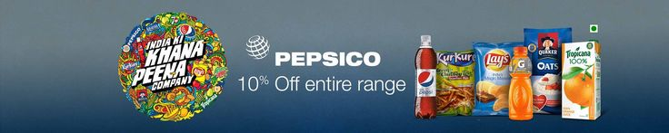 Buy #Pepsico #products at flat 10% OFF. #Offer valid on wide range of #Pepsicoproducts like #Lays, #Tropicana, #Quaker, #Pepsi, #Kurkure, #Lipton, #Gatorade, #Miranda, #7UP and more. With this offer now you can get Flat 10% OFF on Pepsico #Drinks & #Beverages, #Chips & #Snacks, #Oatmeals and #FruitJuices. Visit http://goo.gl/Z1xR2R to avail #deal. Hurry! before its too late.