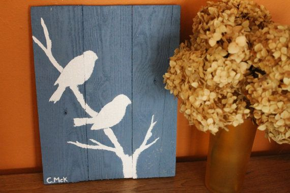 Decorate with a 100% Re-purposed work of art! Pretty Bird Hand-Painted Upcycled Pallet Wall Hanging by ClaireMcK, $18.00