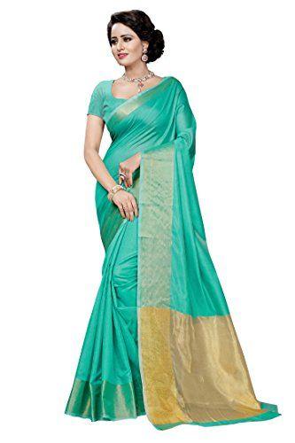 b2a17a6aa3e44e Self border cyan colour green saree with zari