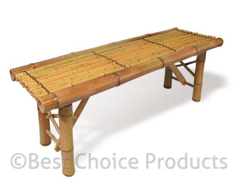 Bamboo Bench Tiki Tropical Coffee Table Bench Patio Room Bar Outdoor New