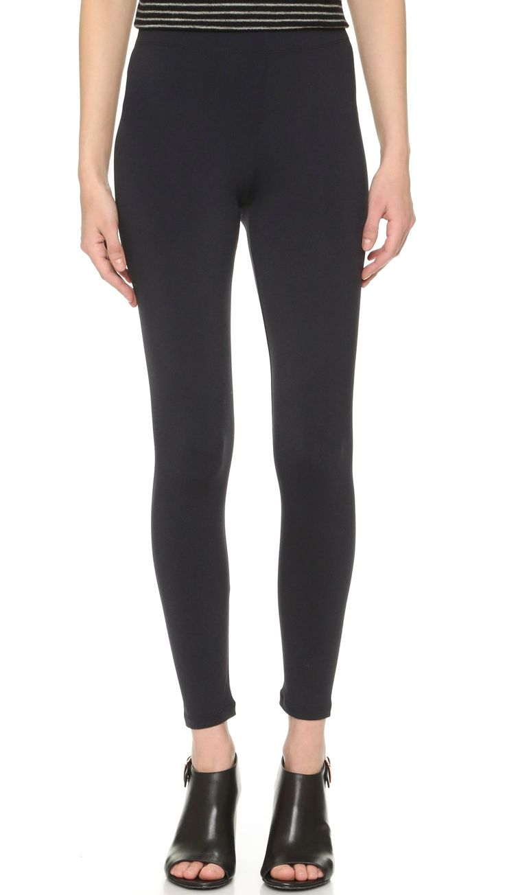 David Lerner Women's Basic Legging, Black, Medium. Stretch jersey. 92% nylon/8% spandex. Wash cold.