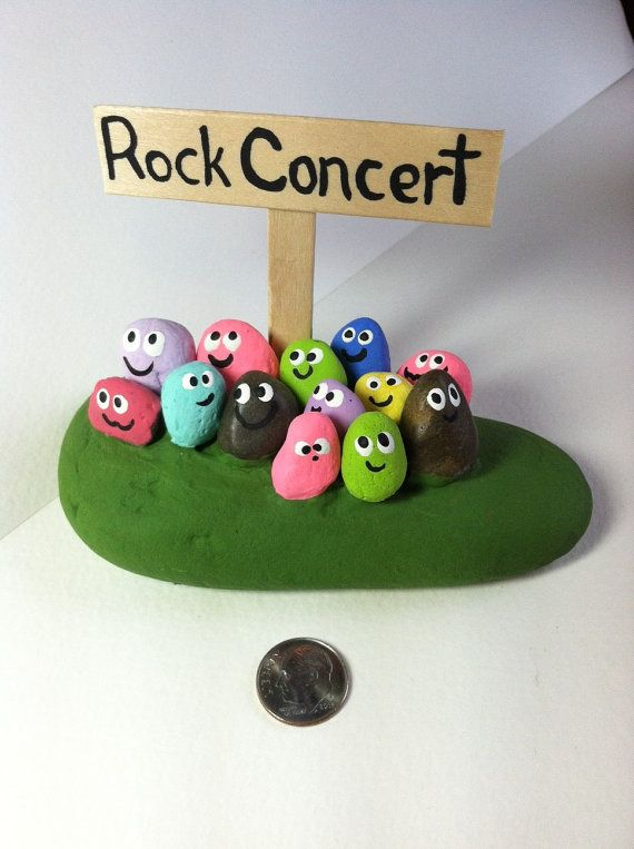 ROCK CONCERT ROCKS- Painted Stones-Painted Pebbles-Custom Concerts Available-Jazz-Blues-Classical-Painted Rocks-Any color or style