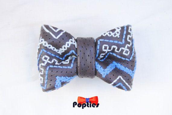 TEN violet dark blue midnight blue Leather BOW TIE  by Popties