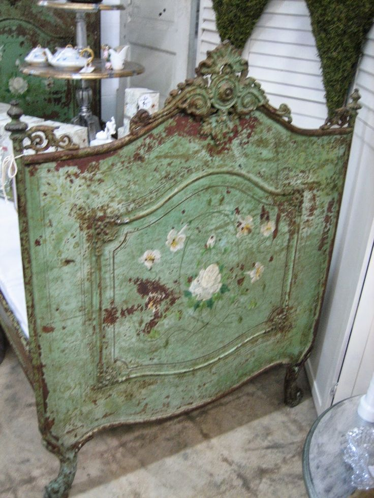 Vignettes Antiques ~ hmm, really pretty French bed frame; needs some work