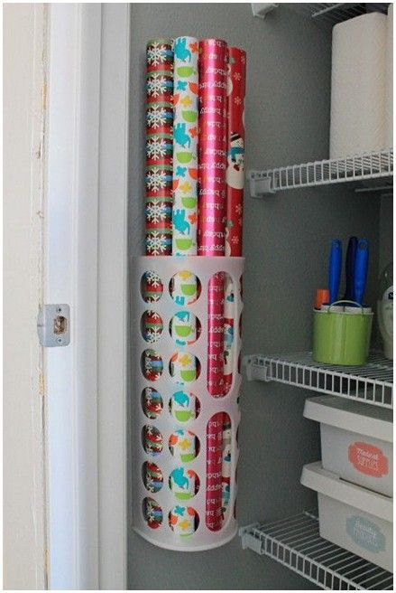 A space saver in home organization - smart way to organize your wrapping paper / gift paper. Bought at IKEA.