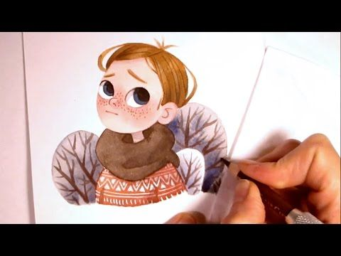 """Character Watercolor Illustration """"waiting for spring"""" (simple shapes wi..."""