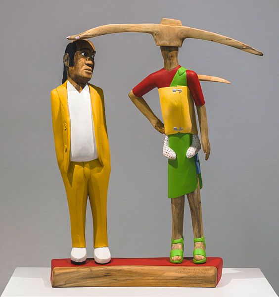 Collen Maswanganyi  Uncle and his Goldigger, 2013 Corkwood, willow wood and acrylic (71 x 60 x 18cm)