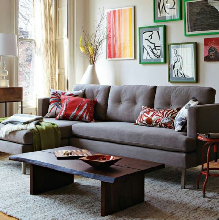 Grey couch with dark brown coffee table to do for the for Grey couch living room