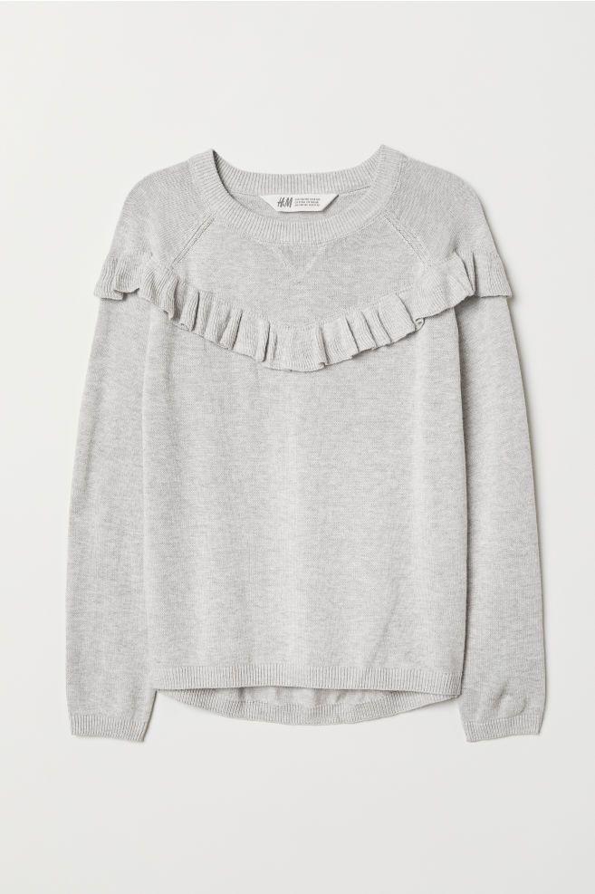 354dcece7 Ruffled Fine-knit Sweater - Light gray melange - Kids
