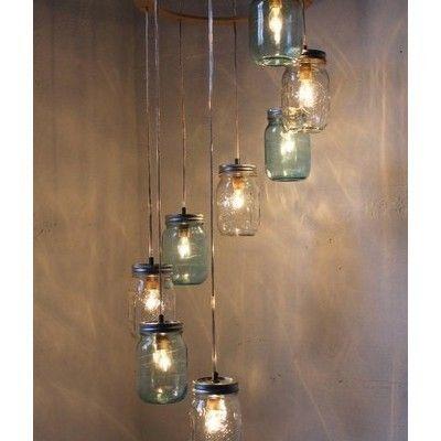 mason jar chandelier: Lamps, Ideas, Lights Fixtures, Canning Jars, Mason Jars Lights, Mason Jars Chandeliers, Masonjars, Crafts, Jar Chandelier