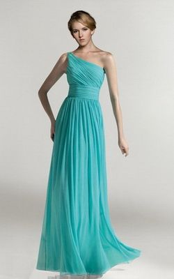 Chiffon Formal Solo Hombro Fruncido Azul Largo Vestido Formal VP125
