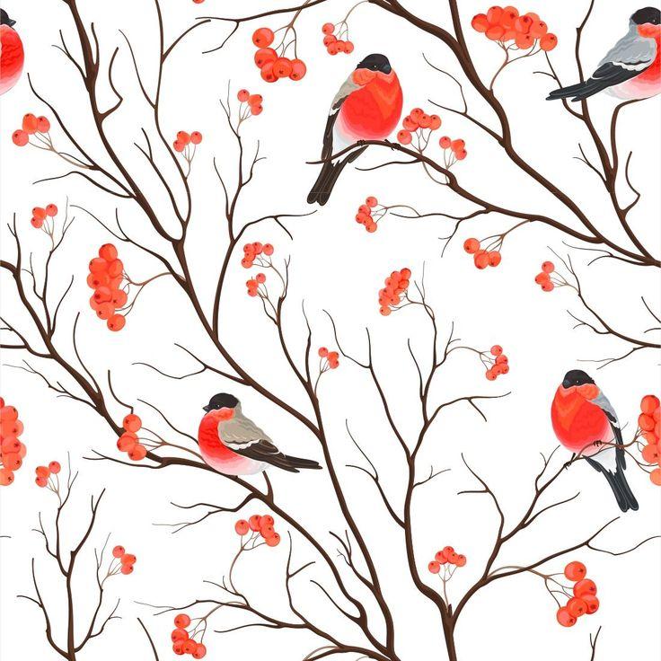 Papel de Parede Adesivo Vermelho Pássaros 158868776