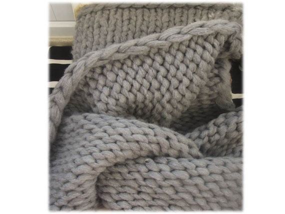 After Christmas SALE Chunky Knit Blanket Grey by TheKnitBeyond