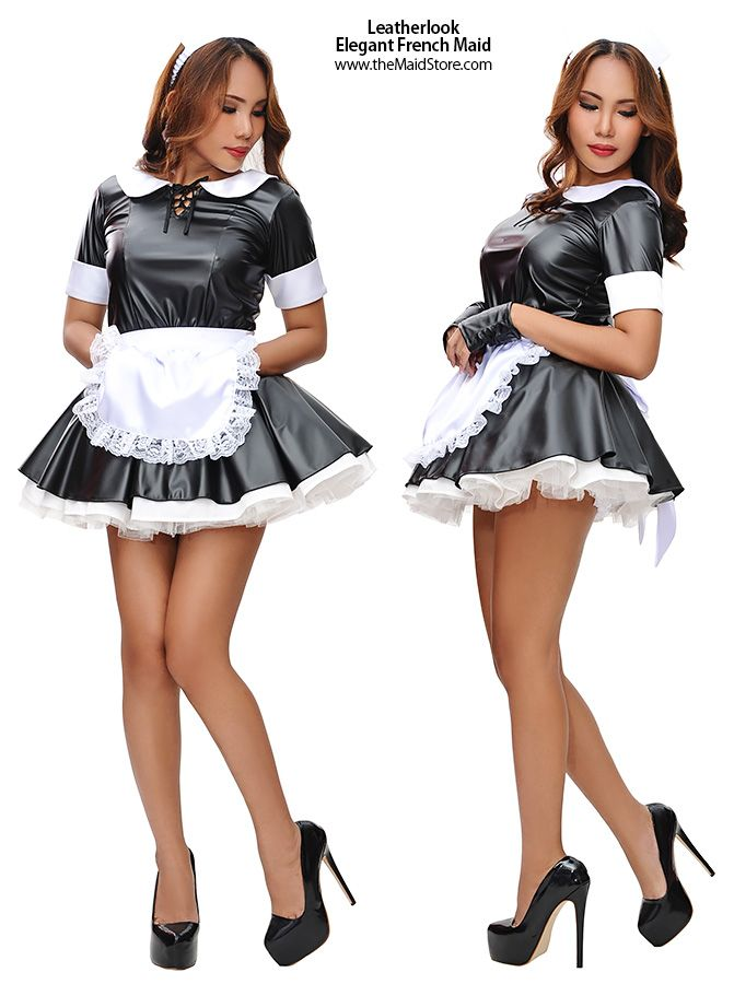 Attractive Leatherlook Elegant French Maid