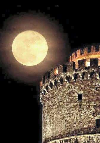 Full moon over the White Tower, Thessaloniki, Greece