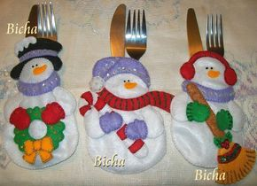 Porta Cubiertos Manualidades | Jual Souvenir | Navidad | Pinterest