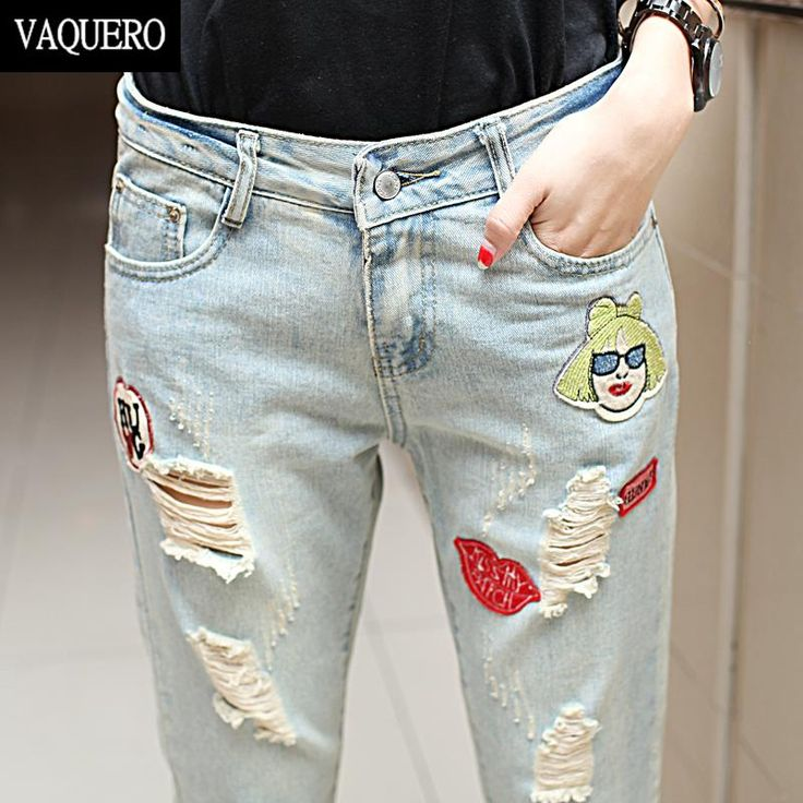 Boyfriend Jeans For Women 2016 Hot Sale Patchwork With Holes Peto Vaquero Mujer Femme Vintage Ripped Denim Ankel Jeans Woman X5