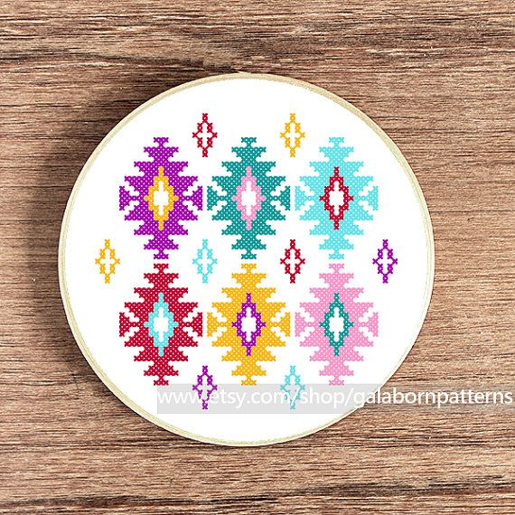 Ikat - PDF Counted cross stitch pattern - Modern cross stitch