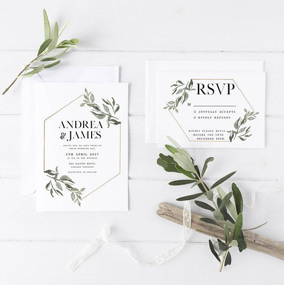 Minimalist Wedding Invitation Suite the Andrea Suite Nature