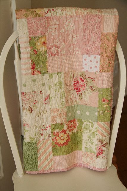 Shabby Chic 9 Patch Baby Toddler Quilt Shabby Chic