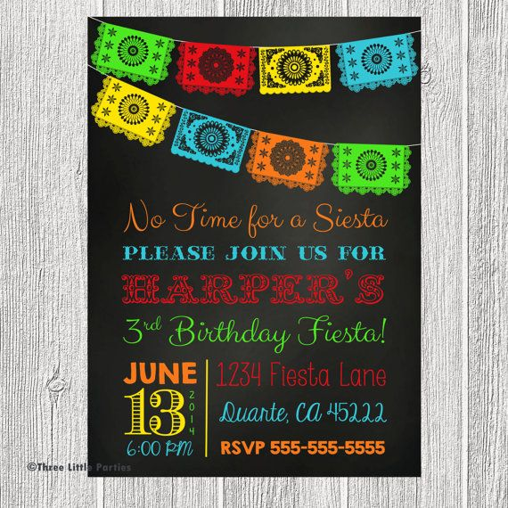 Chalkboard Mexican Fiesta Invitation - Papel Picado Bunting Personalized Birthday Invitation - You Print on Etsy, $14.18 AUD