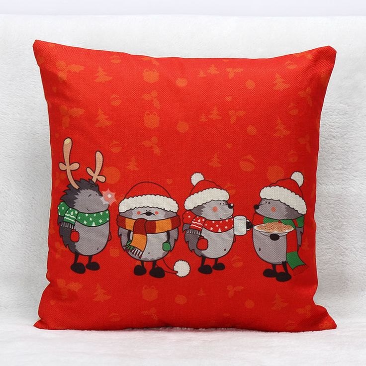 Hedgehog Christmas Cushion Covers Merry Christmas Balloon Candy Color Pillow Cases Bedroom Sofa Decoration