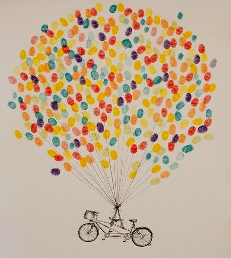 Bicycle balloon flight... Iron on bicycle with boys fingerprints on pillowcases.